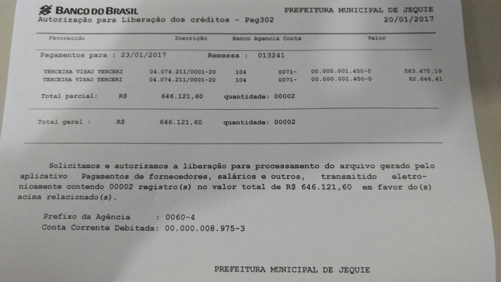 Prefeitura de jequi posta nota sobre o pagamento dos for Limite pagamento contanti 2017