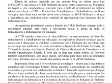 NOTA DE REPÚDIO AO ATAQUE AO MOVIMENTO SINDICAL